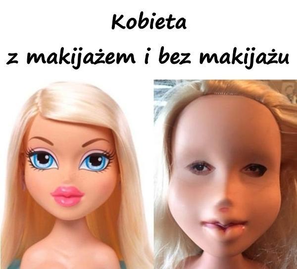 Kobieta z makijażem i bez makijażu