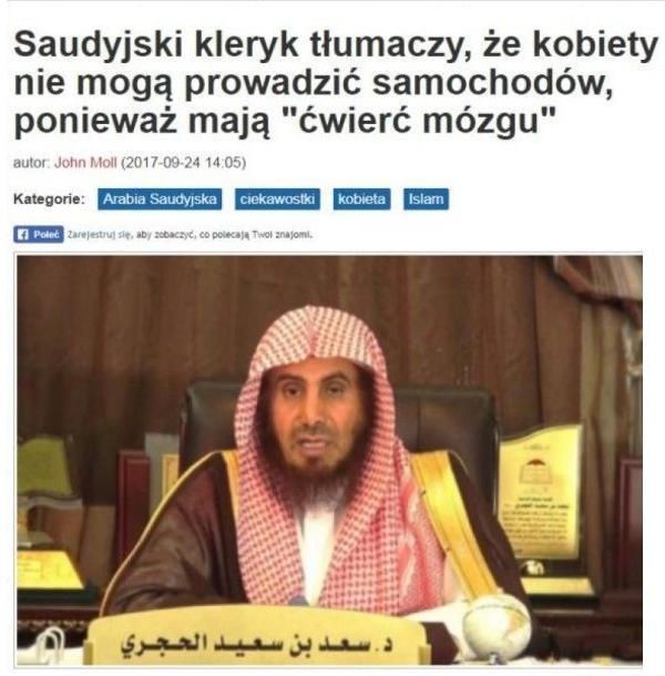 Saudyjski duchowny wyjaśnił, że kobiety nie powinny mieć prawa do prowadzenia samochodu, ponieważ mają jedynie ćwierć mózgu mężczyzny.