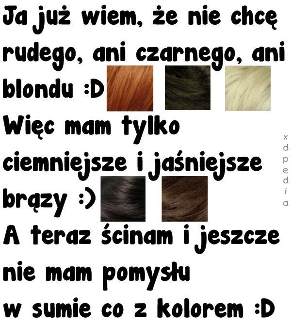 Ka już wiem, że nie chcę rudego, ani czarnego, ani blondu :D Więc mam tylko ciemniejsze i jaśniejsze brązy :) A teraz ścinam i jeszcze nie mam pomysłu w sumie co z kolorem :D Tagi: memy, mem, kobieta, włosy, blond, kolor, besty, czarne, rude, brąz, jasny, ciemny.
