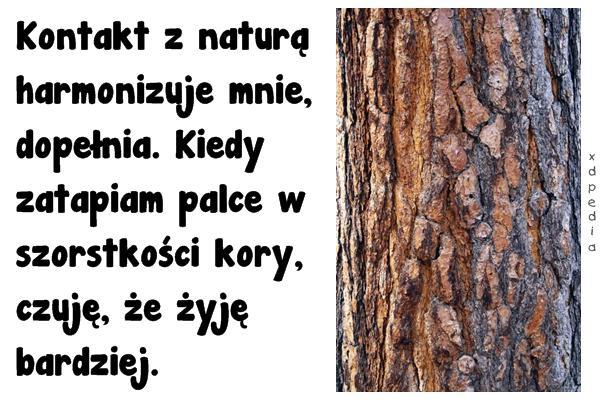 Kontakt z naturą harmonizuje mnie, dopełnia. Kiedy zatapiam palce w szorstkości kory, czuję, że żyję bardziej.