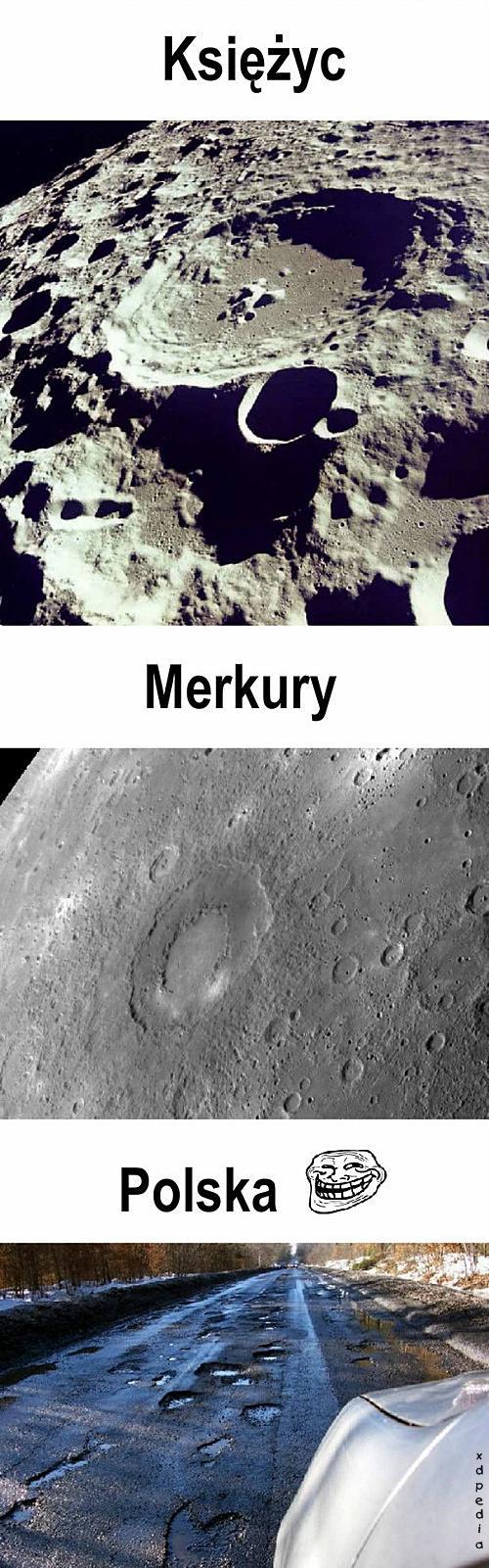 Księżyc, Merkury, Polska...