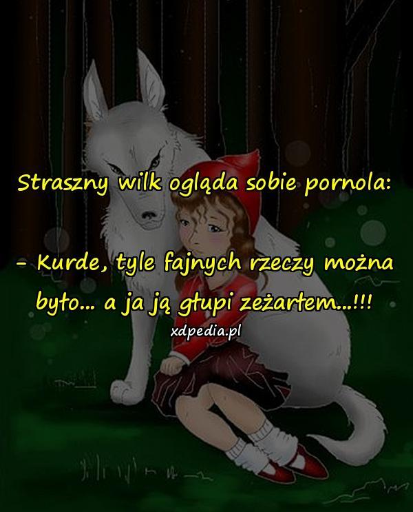 Straszny wilk ogląda sobie pornola: - Kurde, tyle fajnych rzeczy można było... a ja ją głupi zeżarłem...!!!