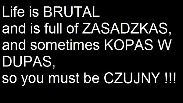 Live is brutal and full of ZASADZKAS and sometimes KOPAS W DUPAS, so you must be CZUJNY!