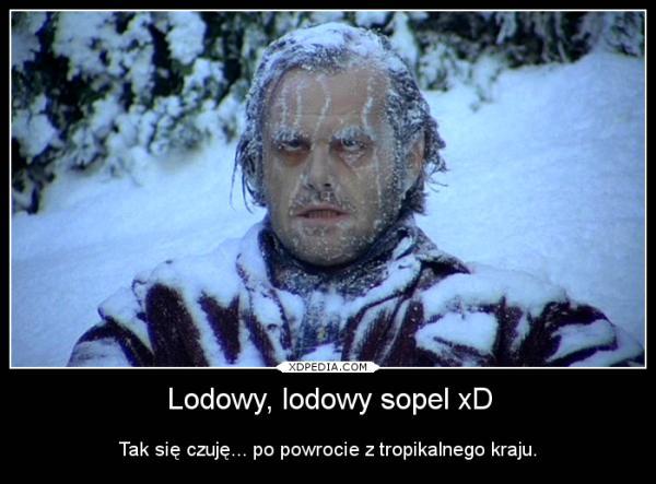 Lodowy, lodowy sopel xD Tak się czuję... po powrocie z tropikalnego kraju.