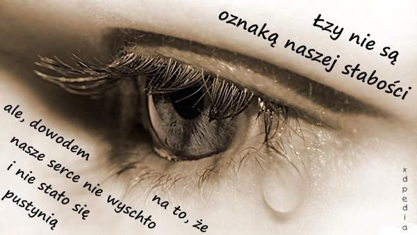 Łzy nie są oznaką naszej słabości ale, dowodem na to, że nasze serce nie wyschło i nie stało się pustynią