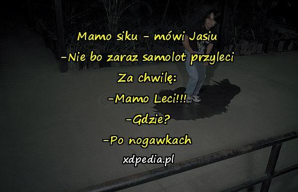Mamo siku - mówi Jasiu -Nie bo zaraz samolot przyleci Za chwilę: -Mamo Leci!!! -Gdzie? -Po nogawkach