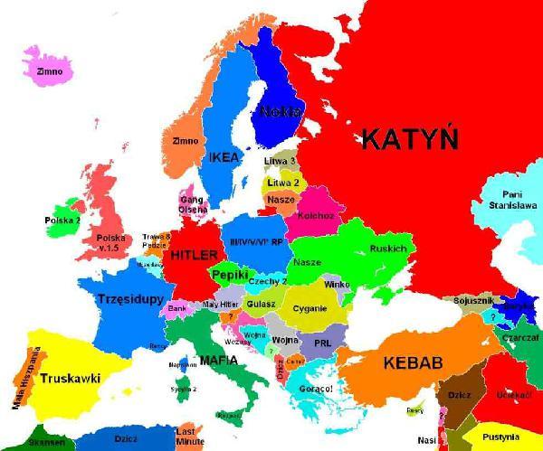 Mapa Europy oczami polaka. Tagi: kwejk, europa, mapa.