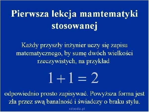 Pierwsza lekcja matematyki stosowanej. Każdy przyszły inżynier uczy się zapisu matematycznego, by sumę dwóch wielkości rzeczywistych, na przykład: 1+1=2 odpowiednio prosto zapisywać. Powyższa forma jest zła przez swą banalność i świadczy o braku stylu.