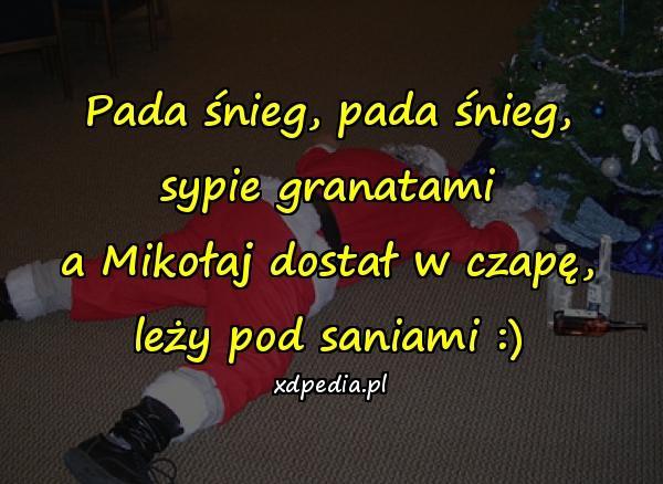 Pada śnieg, pada śnieg, sypie granatami a Mikołaj dostał w czapę, leży pod saniami :)