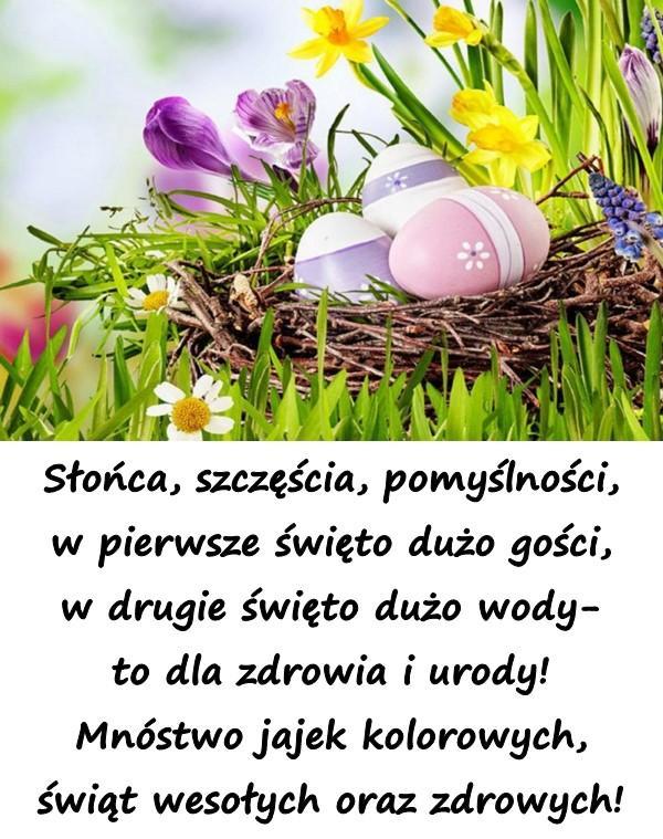 Słońca, szczęścia, pomyślności, w pierwsze święto dużo gości, w drugie święto dużo wody- to dla zdrowia i urody! Mnóstwo jajek kolorowych, świąt wesołych oraz zdrowych!