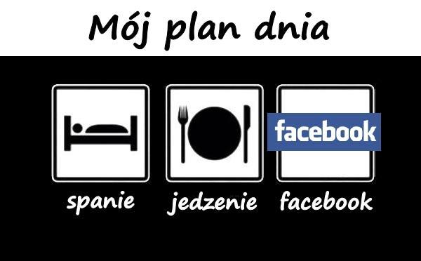 Mój plan dnia: spanie, jedzenie, facebook