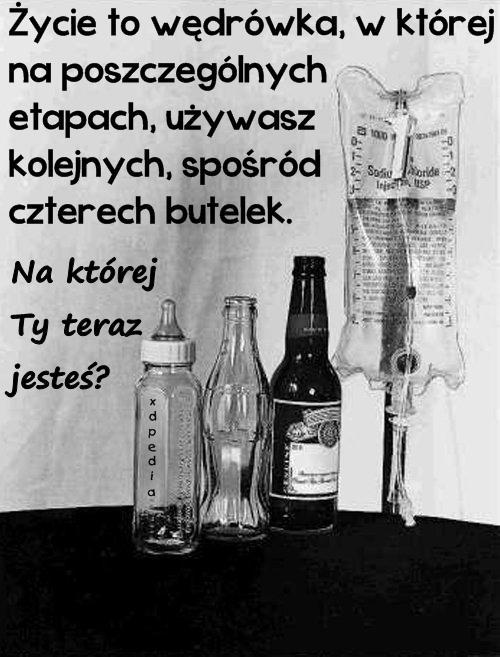 Życie to wędrówka, w której na poszczególnych etapach, używasz kolejnych, spośród czterech butelek. Na której Ty teraz jesteś?