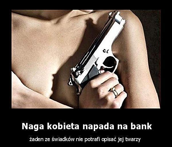 Naga kobieta napada na bank, żaden ze świadków nie potrafi opisać jej twarzy.