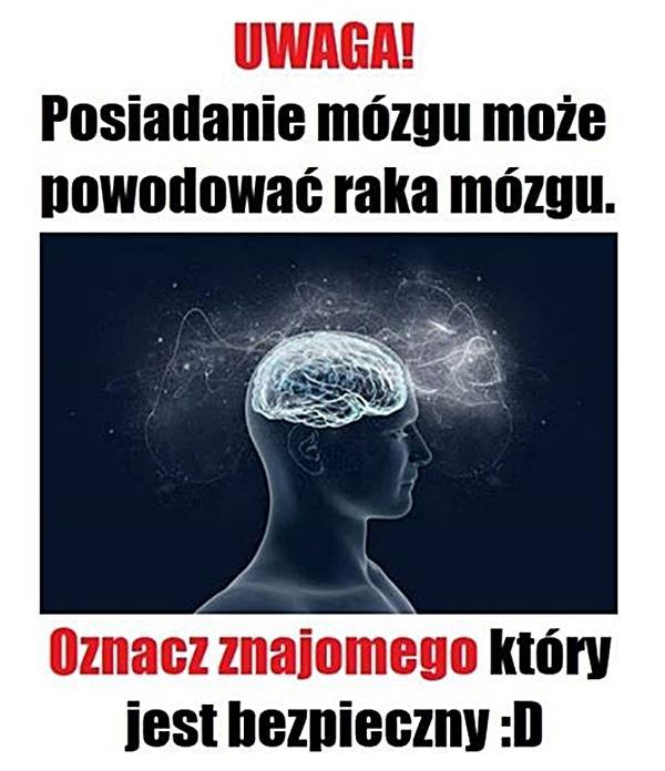 Uwaga! Posiadanie mózgu może powodować raka mózgu. Oznacz znajomego, który jest bezpieczny!