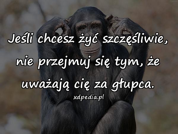 Jeśli chcesz żyć szczęśliwie, nie przejmuj się tym, że uważają cię za głupca.