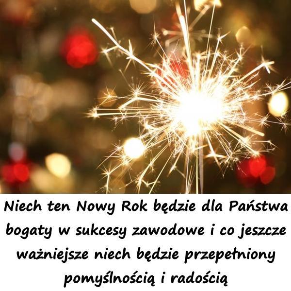 Niech ten Nowy Rok będzie dla Państwa bogaty w sukcesy zawodowe i co jeszcze ważniejsze niech będzie przepełniony pomyślnością i radością