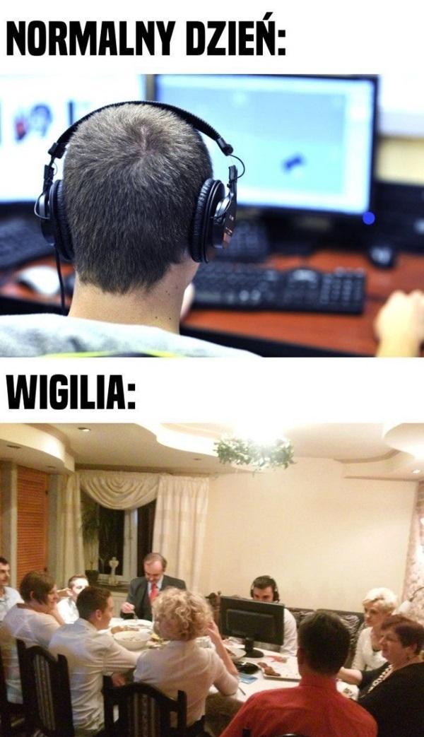 Normalny dzień vs. wigilia