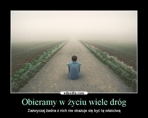 Obieramy w życiu wiele dróg zazwyczaj żadna z nich nie okazuje się być tą właściwą