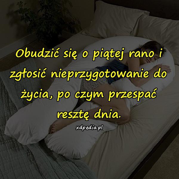 Obudzić się o piątej rano i zgłosić nieprzygotowanie do życia, po czym przespać resztę dnia.
