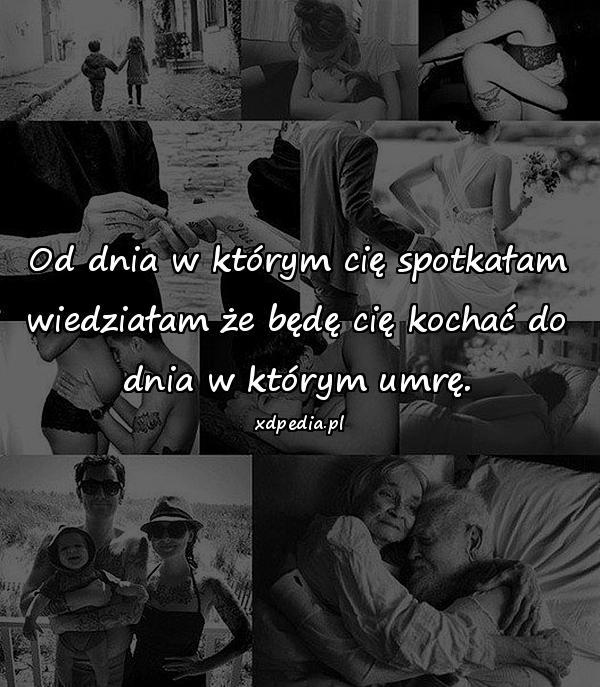 Od dnia w którym cię spotkałam wiedziałam że będę cię kochać do dnia w którym umrę.