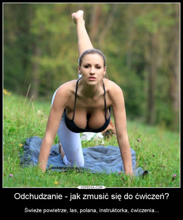 Odchudzanie - jak zmusić się do ćwiczeń? Świeże powietrze, las, polana, instruktorka, ćwiczenia...