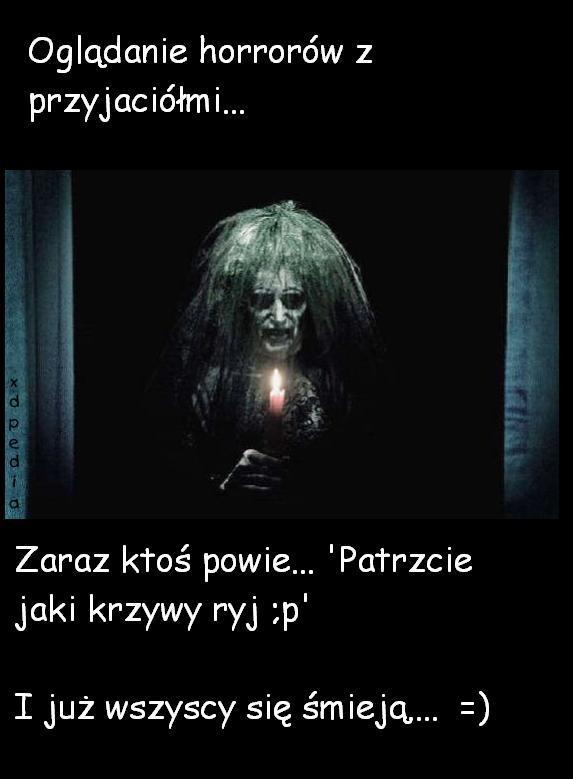 Oglądanie horrorów z przyjaciółmi... Zaraz ktoś powie... Patrzcie jaki krzywy ryj ;p I już wszyscy się śmieją... =)