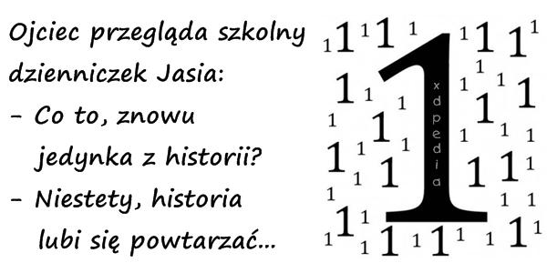 Ojciec przegląda szkolny dzienniczek Jasia: - Co to, znowu    jedynka z historii? - Niestety, historia lubi się powtarzać... Tagi: historia, kawał, dowcip, pała, besty, jedynka, dzienniczek, powtórka.