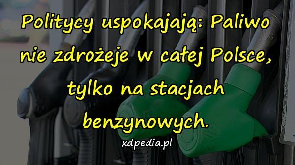 Politycy uspokajają: Paliwo nie zdrożeje w całej Polsce, tylko na stacjach benzynowych.