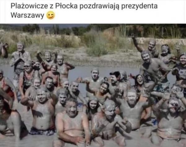 Plażowicze z Płocka pozdrawiają prezydenta Warszawy :)