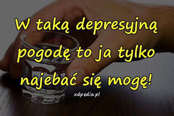 W taką depresyjną pogodę to ja tylko najebać się mogę!