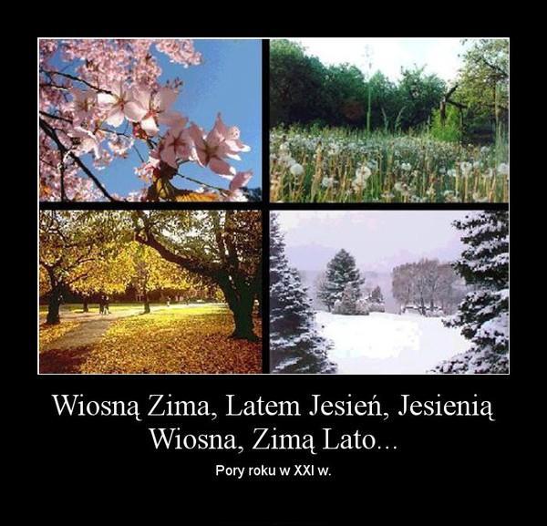 Czy takich pór roku się doczekaliśmy w XXI w.? Wiosną zima, latem jesień, jesienią wiosna, zimą lato...