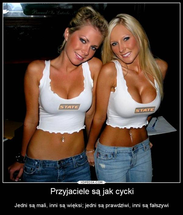 Przyjaciele są jak cycki Jedni są mali, inni są więksi; jedni są prawdziwi, inni są fałszywi