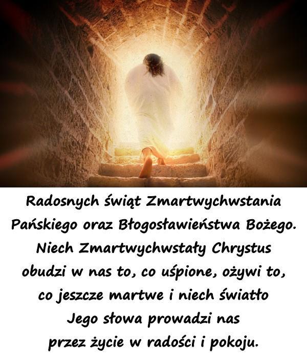 Radosnych świąt Zmartwychwstania Pańskiego oraz Błogosławieństwa Bożego. Niech Zmartwychwstały Chrystus obudzi w nas to, co uśpione, ożywi to, co jeszcze martwe i niech światło Jego słowa prowadzi nas przez życie w radości i pokoju.