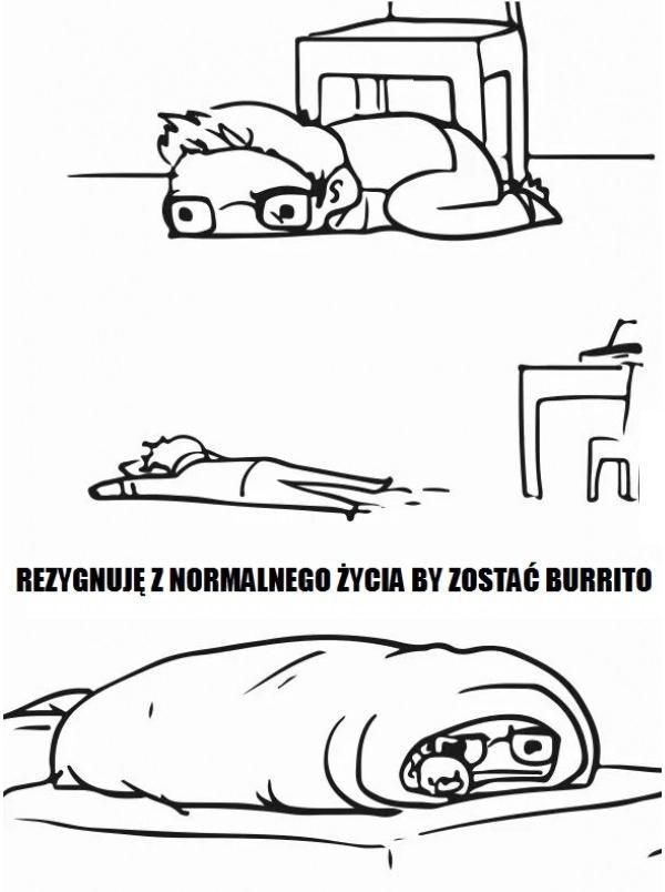 Rezygnuję z normalnego życia by zostać burrito...