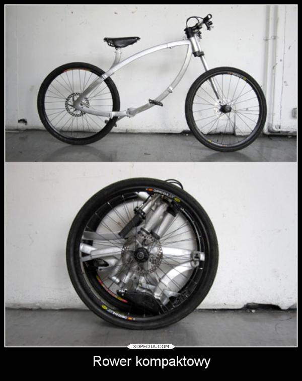 Tak wygląda rower kompaktowy, złożony mieści się w bagażniku. Tagi: demotywator, rower, kompaktowy.