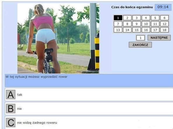 W tej sytuacji możesz wyprzedzać rower - tak - nie - nie widzę żadnego roweru