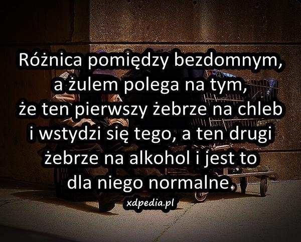 Różnica pomiędzy bezdomnym, a żulem polega na tym, że ten pierwszy żebrze na chleb i wstydzi się tego, a ten drugi żebrze na alkohol i jest to dla niego normalne.
