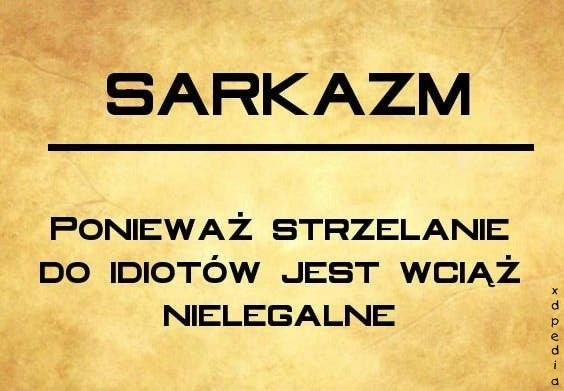 Sarkazm - Ponieważ strzelanie do idiotów jest wciąż nielegalne
