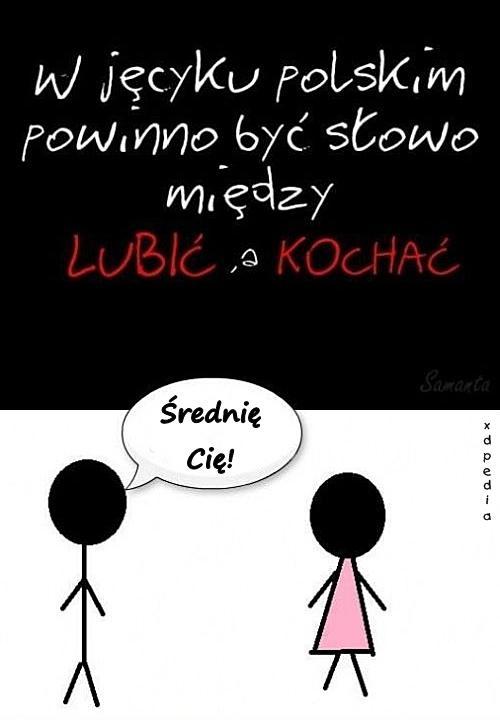 W języku polskim powinno być słowo między LUBIĆ a KOCHAM CIĘ - Średnię Cię