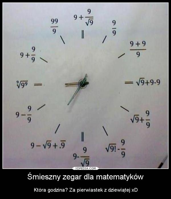 Śmieszny zegar dla matematyków. Która godzina? Za pierwiastek z dziewiątej xD