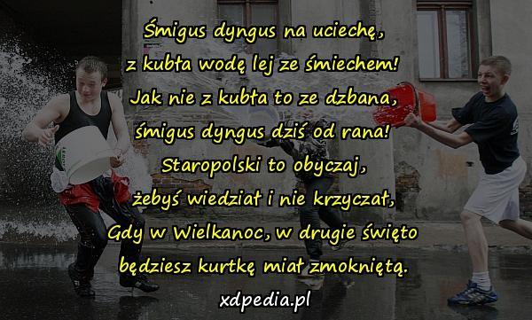 Wiersze życzenia Lany Poniedziałek śmigus Dyngus