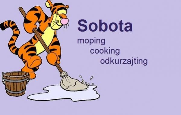 Sobota - moping, cooking, odkurzajting