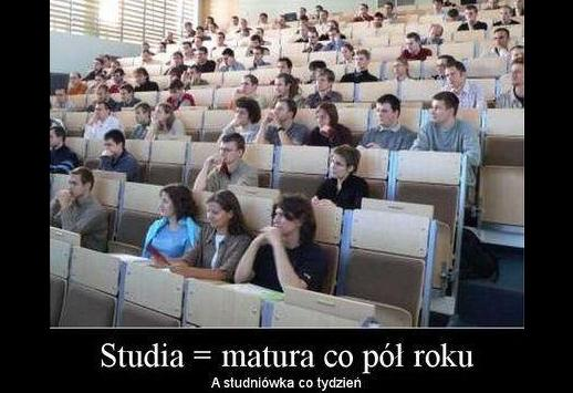 Studia = matura co pół roku a studniówka co tydzień
