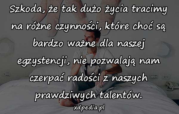 Szkoda, że tak dużo życia tracimy na różne czynności, które choć są bardzo ważne dla naszej egzystencji, nie pozwalają nam czerpać radości z naszych prawdziwych talentów.
