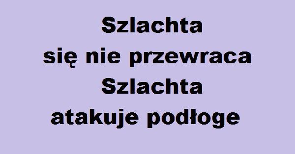 Szlachta się nie przewraca, szlachta atakuje podłoge