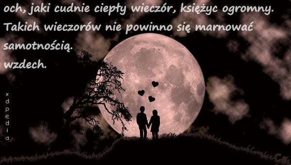 och, jaki cudnie ciepły wieczór, księżyc ogromny. Takich wieczorów nie powinno się marnować samotnością. wzdech.