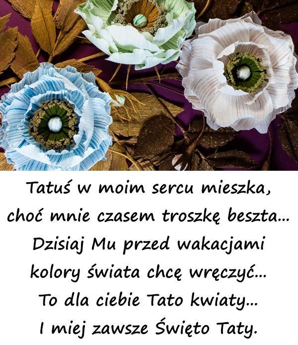 Tatuś w moim sercu mieszka, choć mnie czasem troszkę beszta... Dzisiaj Mu przed wakacjami kolory świata chcę wręczyć... To dla ciebie Tato kwiaty... I miej zawsze Święto Taty.