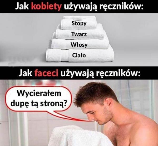 Używane ręczników - kobieta i mężczyzna