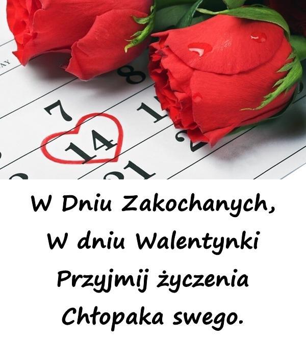 W Dniu Zakochanych, W dniu Walentynki Przyjmij życzenia Chłopaka swego.