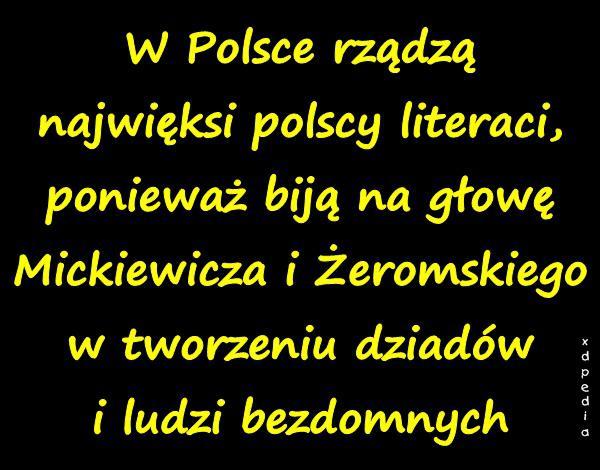 W Polsce rządzą najwięksi polscy literaci, ponieważ biją na głowę Mickiewicza i Żeromskiego w tworzeniu dziadów i ludzi bezdomnych